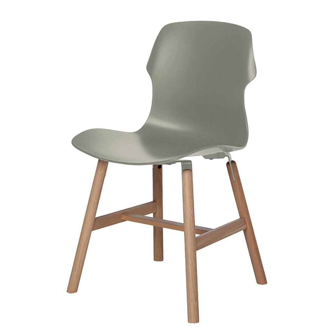 Stuhl Stereo Wood (2er-Set) – Kunststoff Hellgrau/Eiche massiv, Casamania günstig