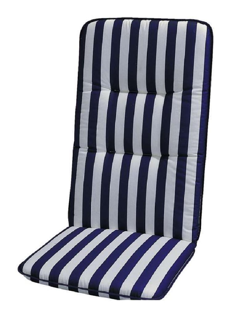 Auflage Basic Line - Blau-Weiß gestreift - Gartenliege - 190 x 60 cm, Best Freizeitmöbel