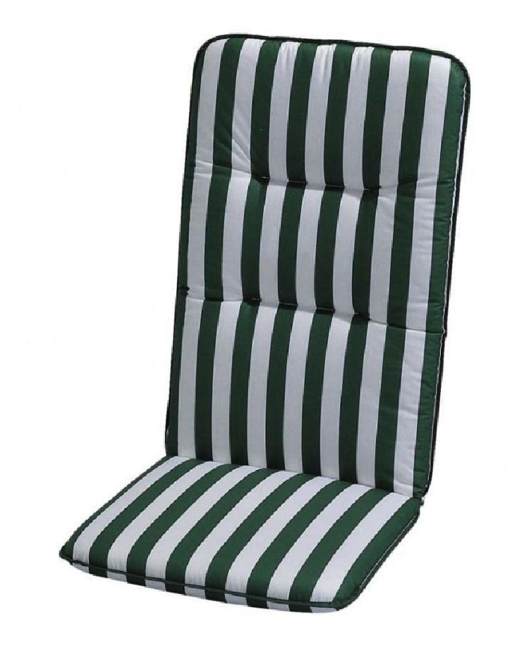 Auflage Basic Line - Grün-Weiß gestreift - Hochlehner - 120 x 50 cm, Best Freizeitmöbel
