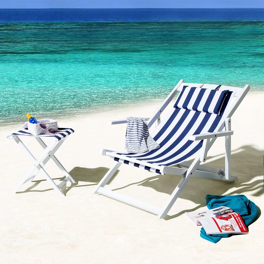 Summer Sun (2-teilig) Gartenmöbelset - Holz/Polyester - Weiß/Blau-Weiß gestreift