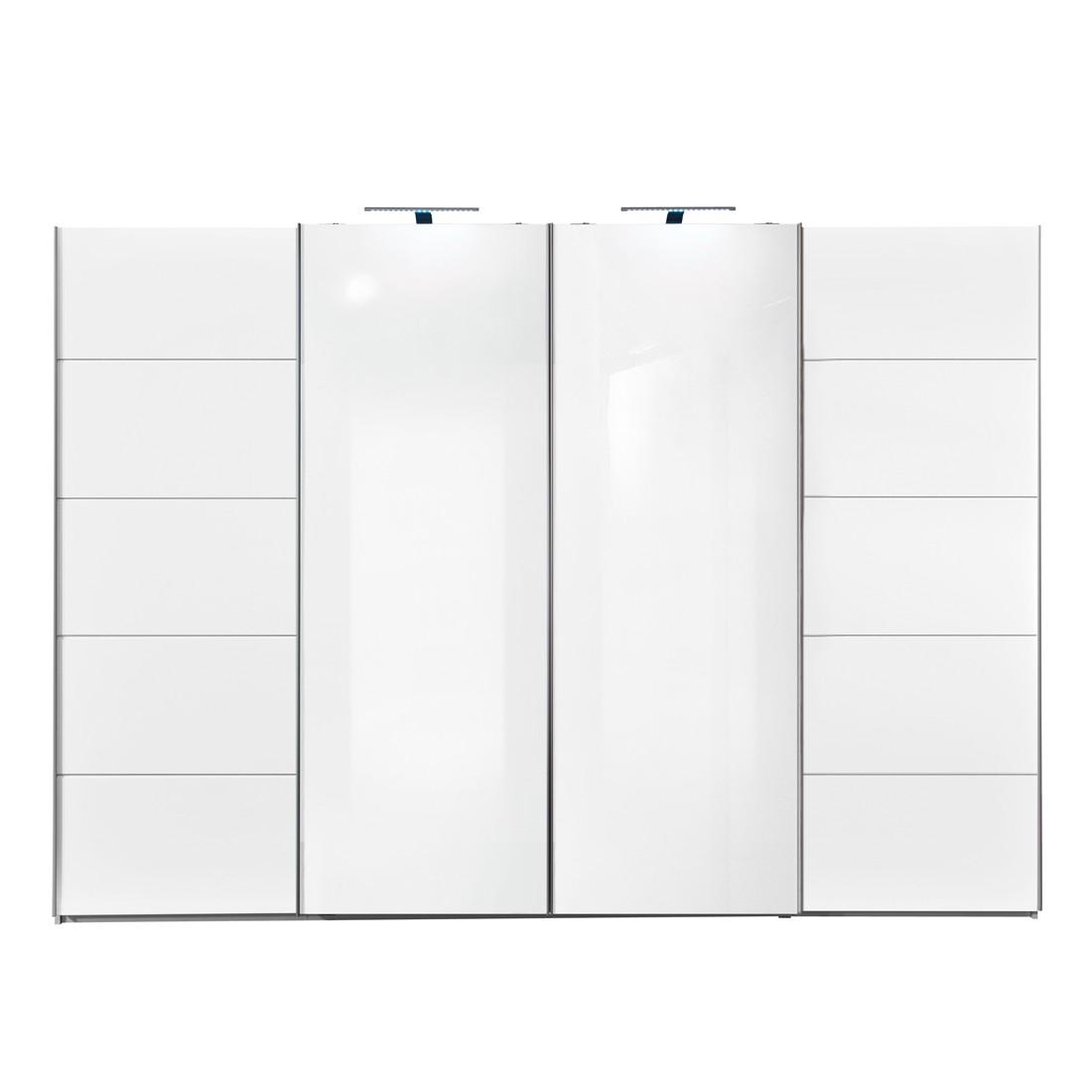 Schwebetürenschrank Synkro - Weiß/Glas ReinWeiß - Schrankbreite: 252 cm, Arte M