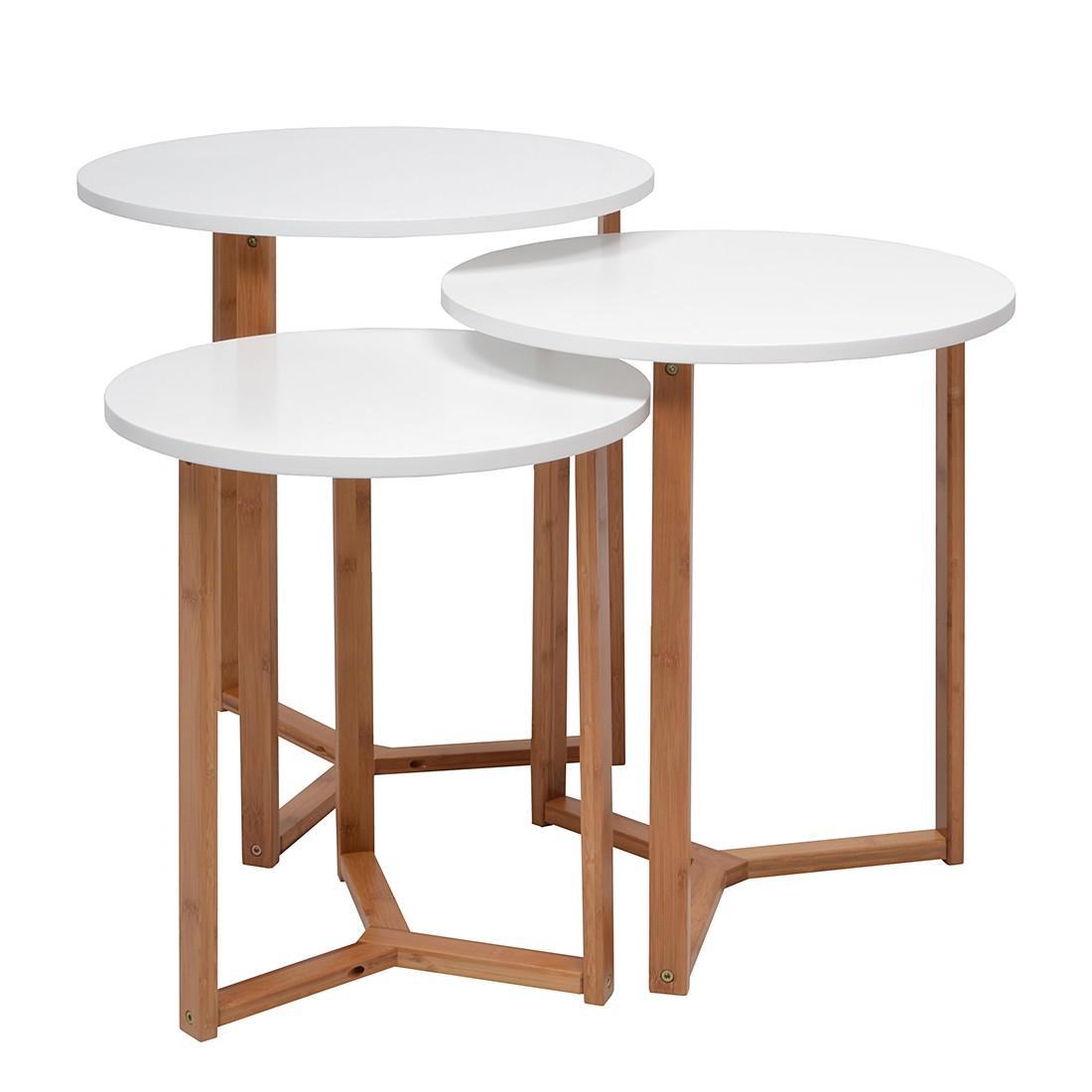 Table gigogne trio bambou mdf blanc for Table gigogne blanche