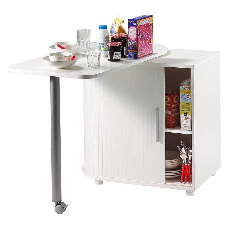 Table pivotante et meuble de rangement de cuisine blanc - Table cuisine pivotante ...