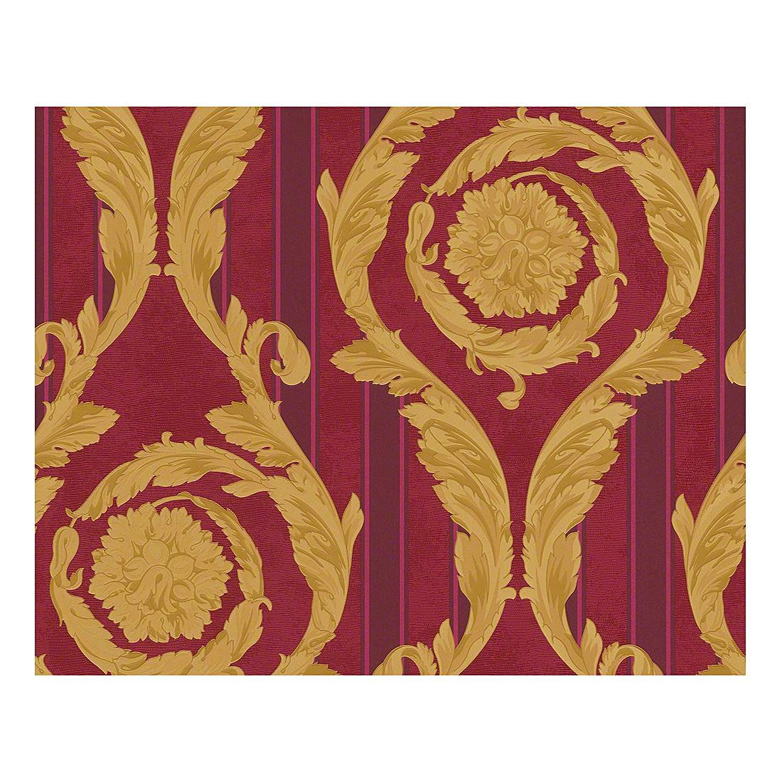 Tapete Barocco and Stripes – rotviolett – himbeerrot – goldfarben – fein strukturiert, VERSACE Home online bestellen