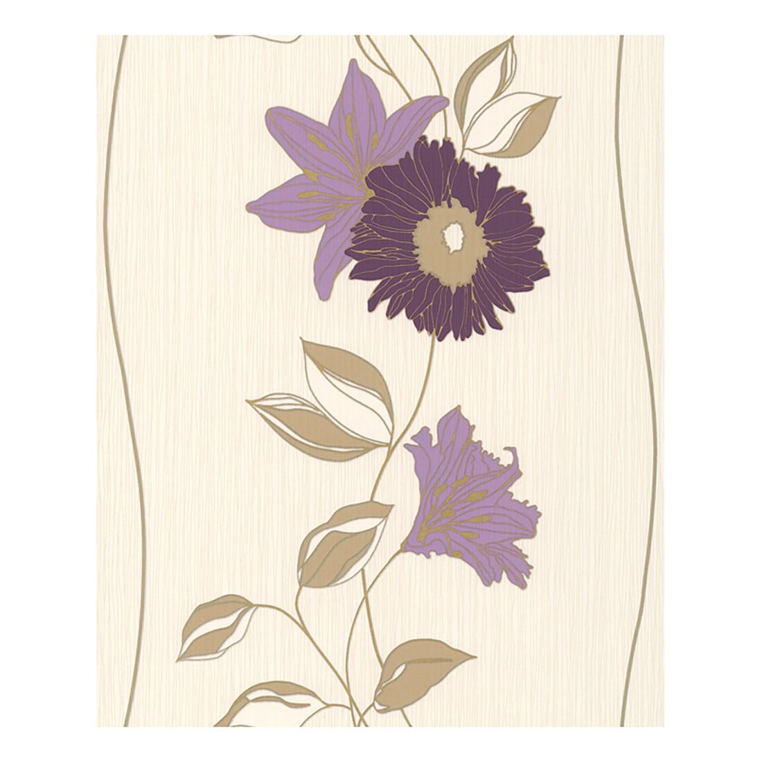 Tapete Daniel Hechter – creme – violett – rotlila – beige – goldfarben – fein strukturiert, Daniel Hechter günstig online kaufen