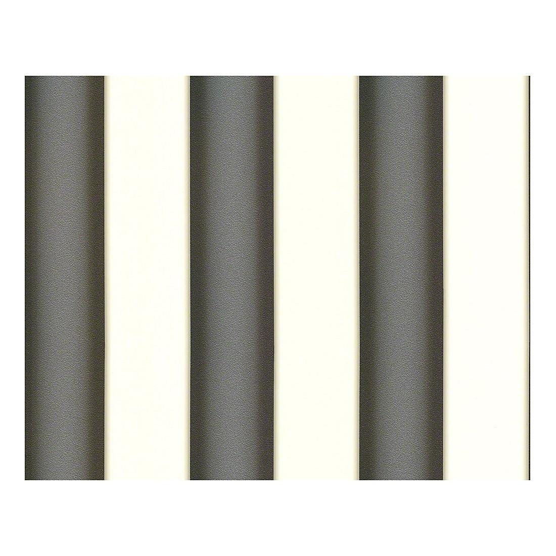 Tapete Herald – signalweiß – schwarz – quarzgrau – metallic – strukturiert – fein strukturiert – Modell 2, VERSACE Home kaufen