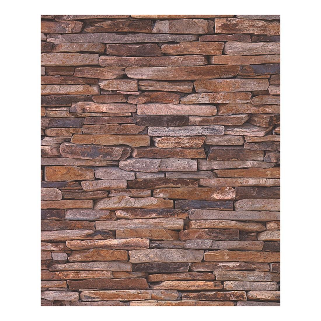 Tapete wood and stone beige braun glatt fein for Fein bad braun
