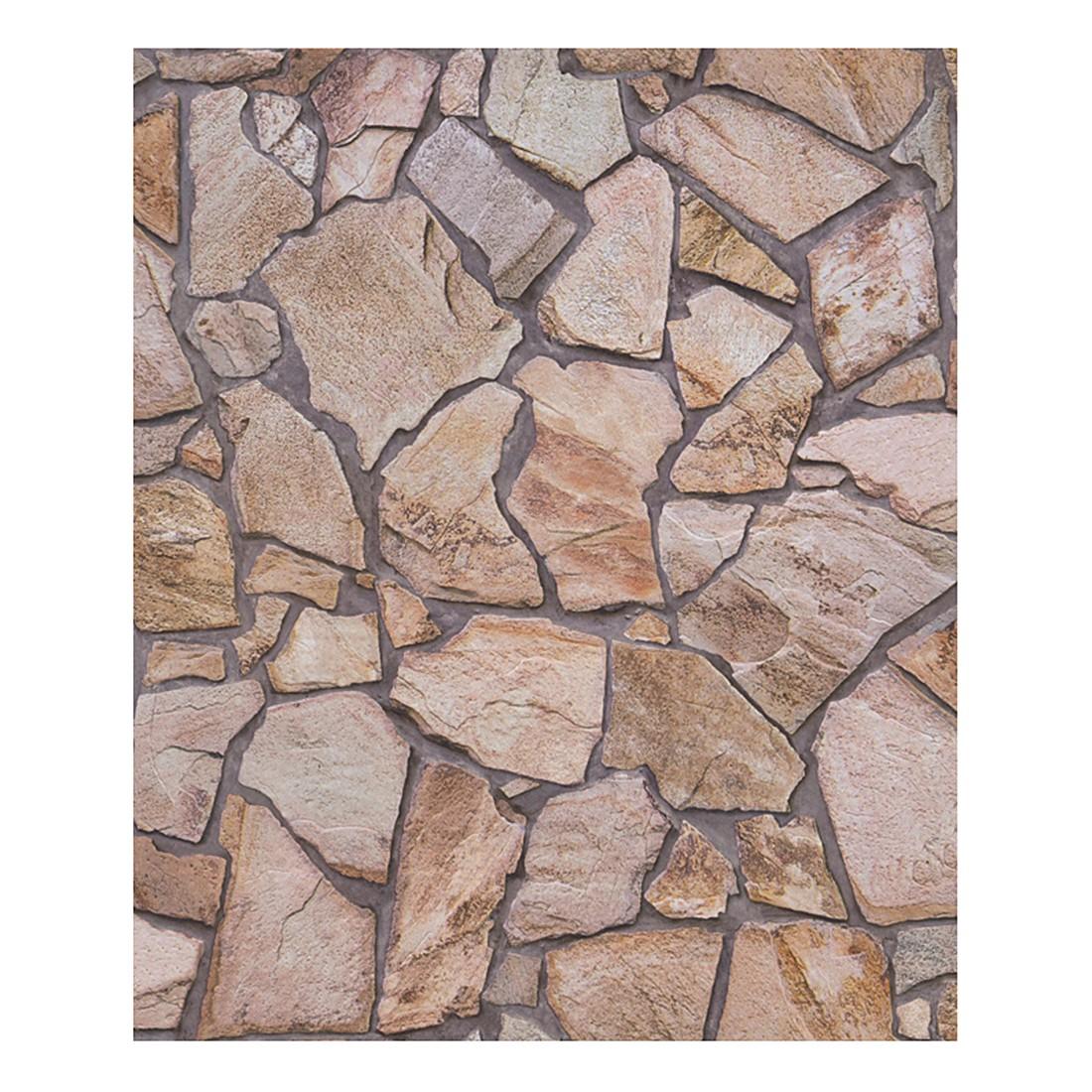Tapete Wood and Stone – beige, braun, grau – glatt, fein strukturiert, Home24Deko online kaufen
