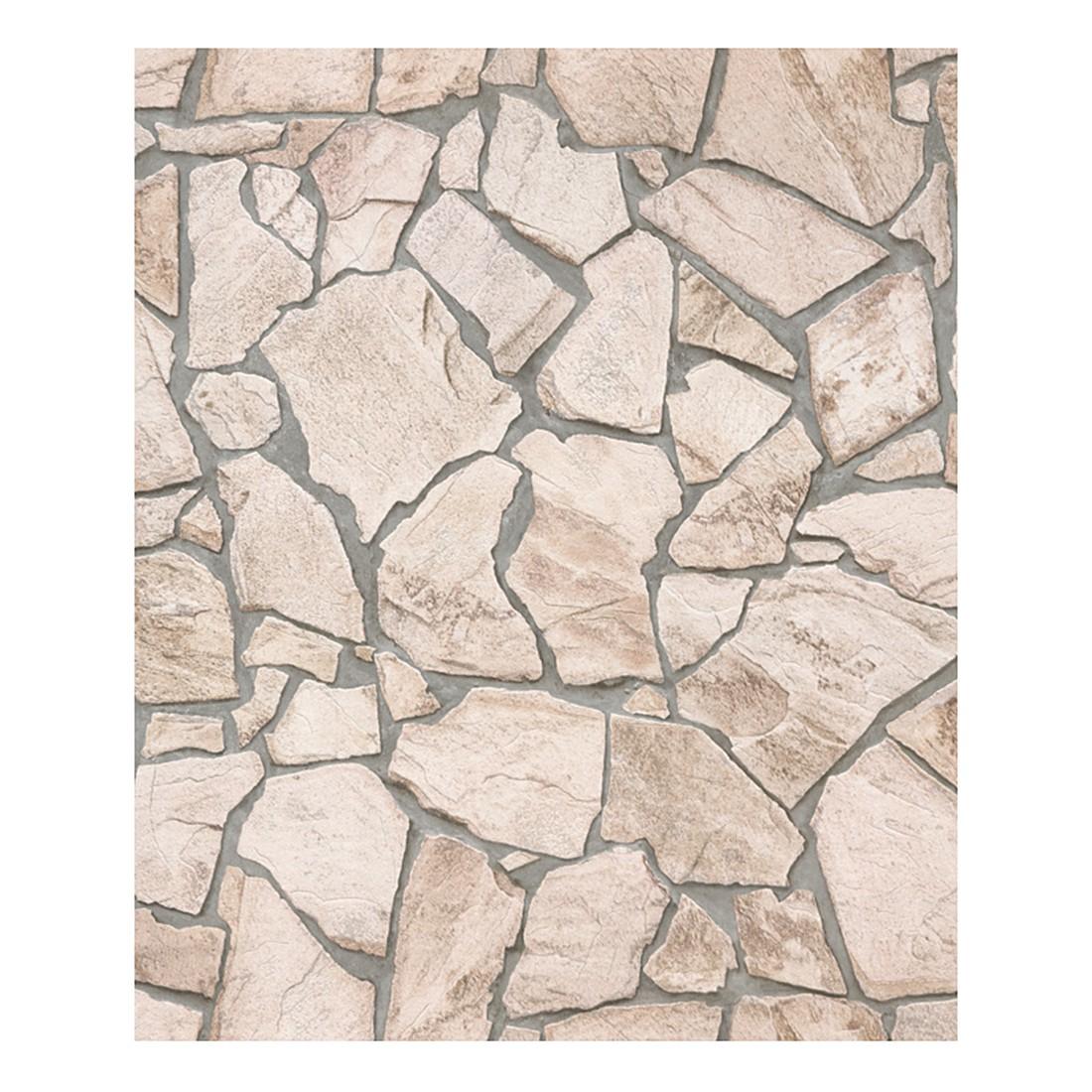 Tapete Wood and Stone – beige, braun, grau – glatt, fein strukturiert, Home24Deko günstig bestellen