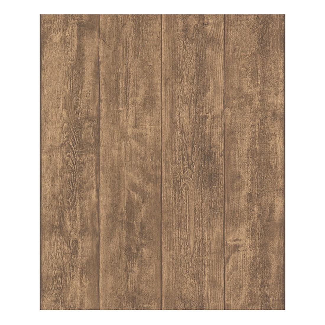Tapete Wood and Stone – braun – fein strukturiert, Home24Deko günstig