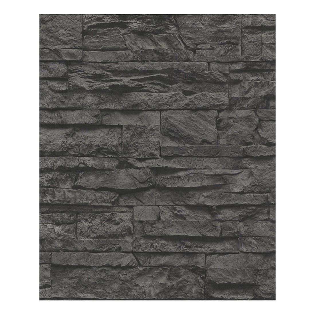 Tapete Wood and Stone – grau, schwarz – strukturiert, Home24Deko jetzt kaufen