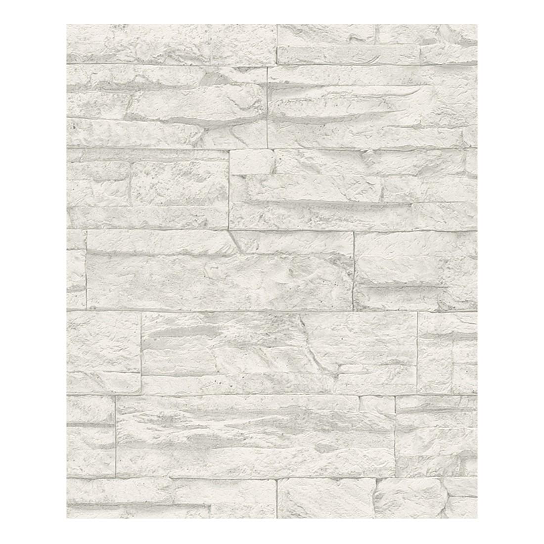 Tapete Wood and Stone – grau, weiß – strukturiert, Home24Deko jetzt bestellen