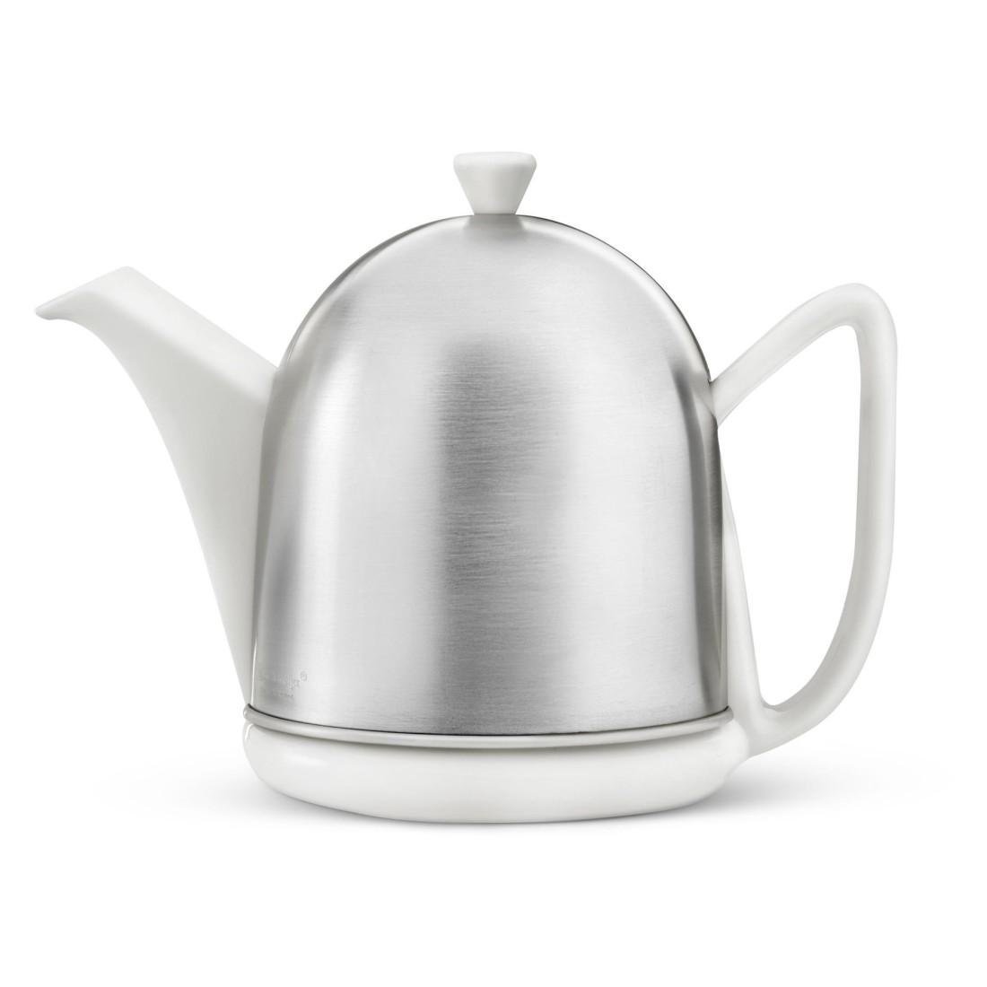 Teekanne Manto – matte Haube – Keramik/Edelstahl – Silber/Weiß – 1,0L, Bredemeijer günstig bestellen