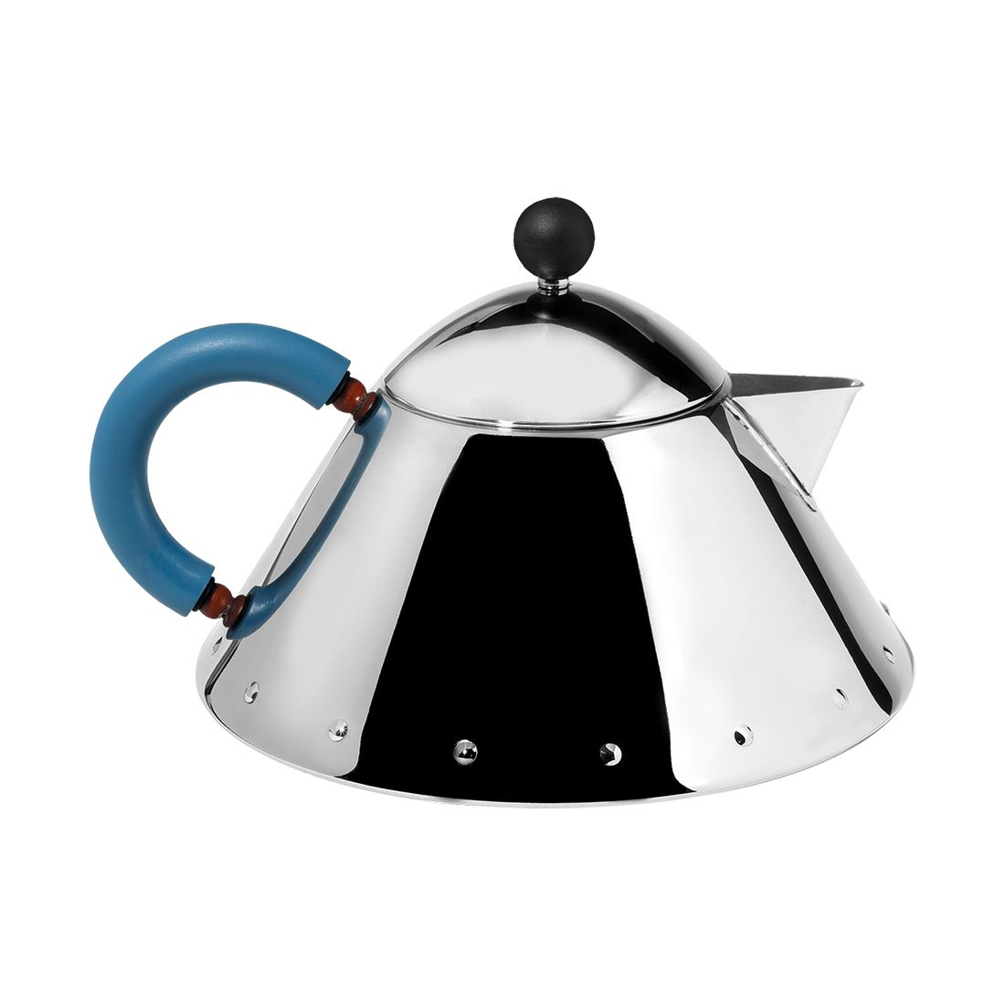 Teekanne MG33 – Kanne: Edelstahl, Griff und Knopf: PA Silber mit hellblauem Griff, Alessi günstig bestellen