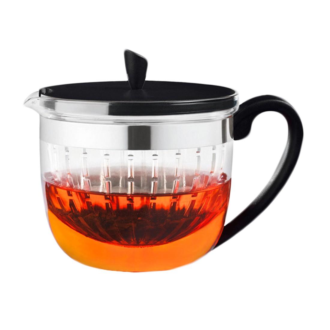 Teekanne Perfect mit Sieb – Kanne: Borosilikatglas, Deckel: Kunststoff Schwarz – 1 Liter, Rastal günstig online kaufen