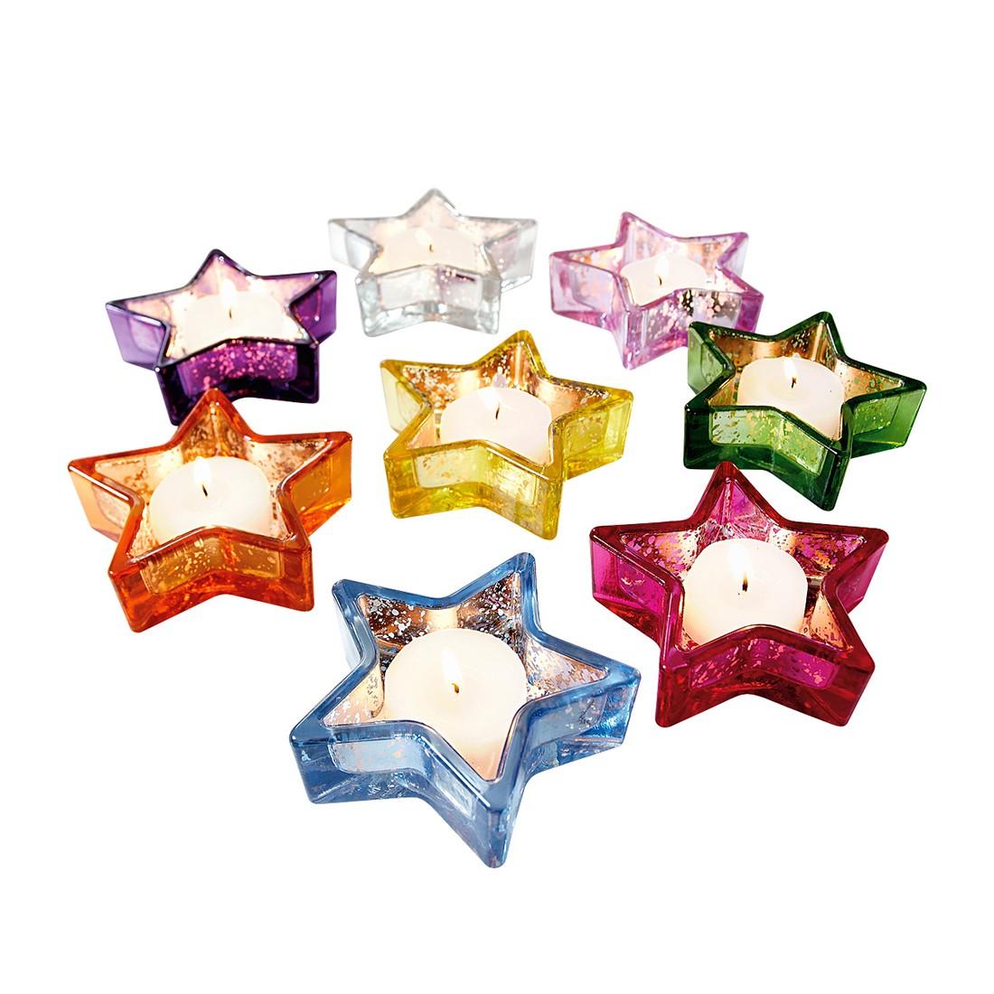 Teelichthalter Crazy Stars 8-teilig – Glas, Bunt, PureDay kaufen