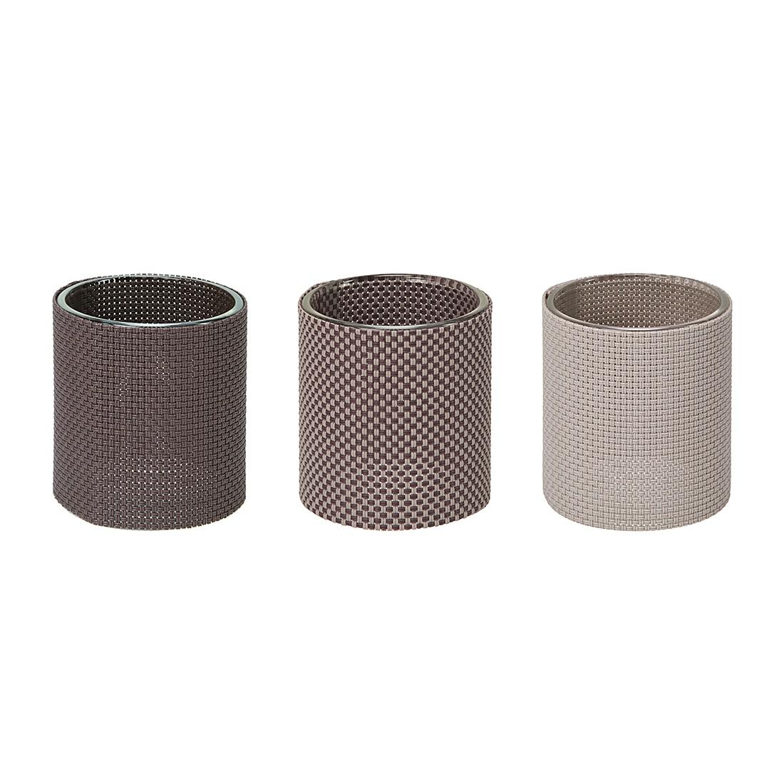 Teelichthalter Marah(3er-Set) Klarglas/Kunststoff Braun, Contento bestellen