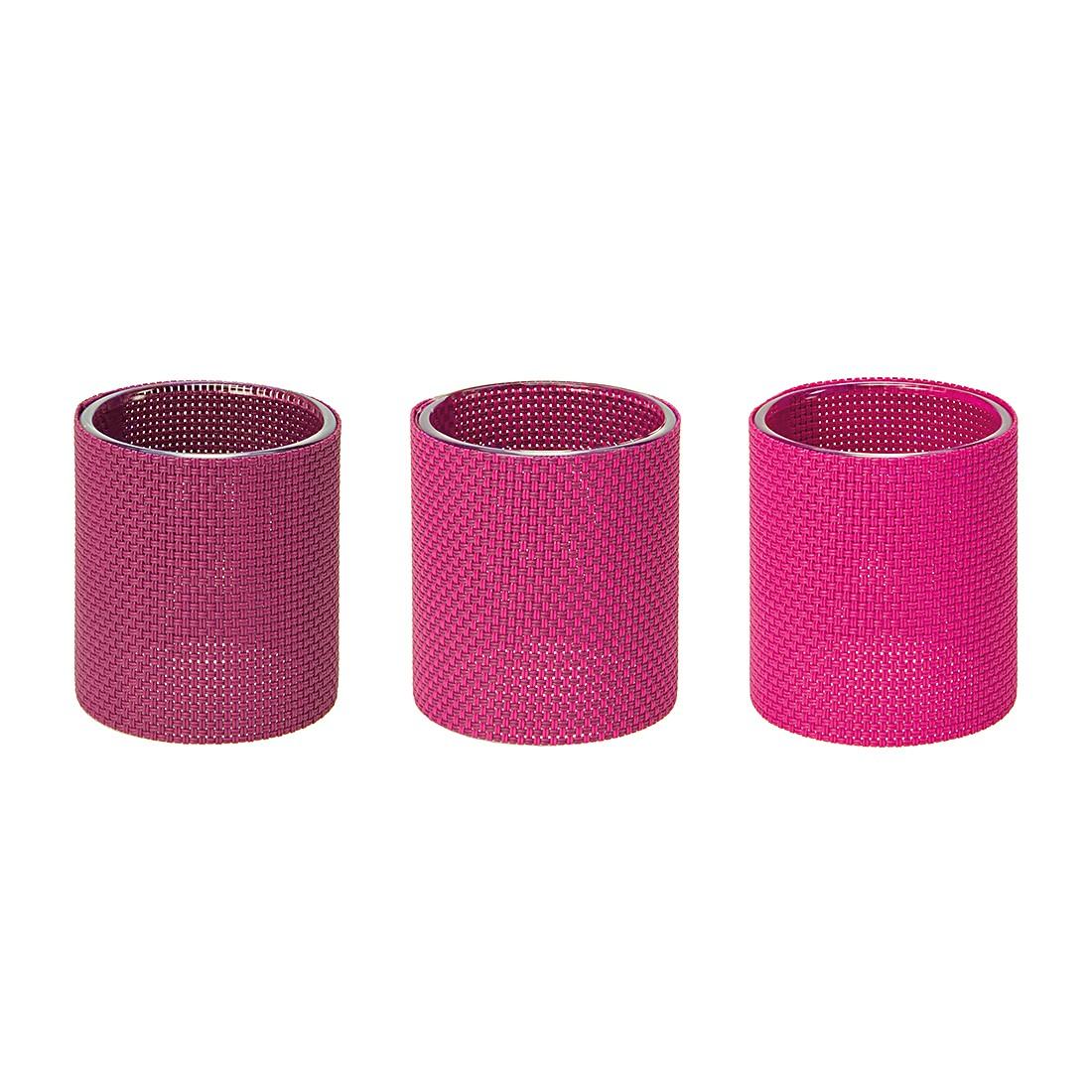 Teelichthalter Marah (3er-Set) Klarglas/Kunststoff Pink, Contento jetzt kaufen
