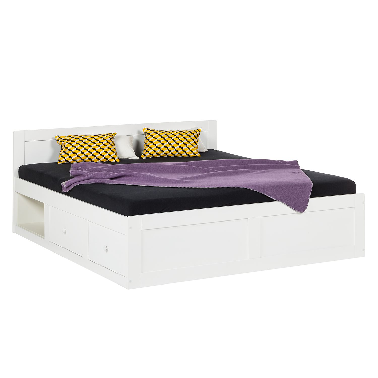 bett lindbom pinie teilmassiv wei 140 x 200cm ebay. Black Bedroom Furniture Sets. Home Design Ideas