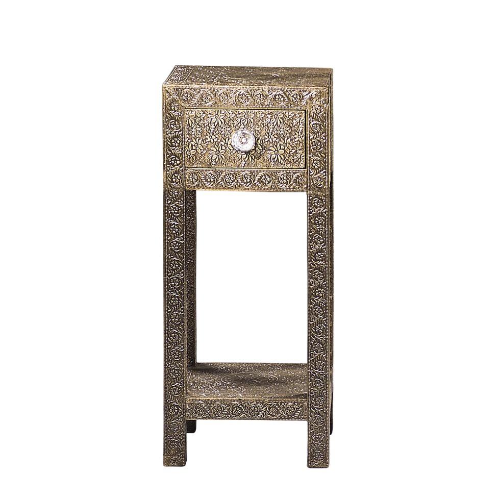 Telefontischchen Cadruna – Mangobaum Teilmassiv/Messing – Messingfarben mit Muster – 001 – Höhe: 70 cm, Möbel Exclusive online kaufen