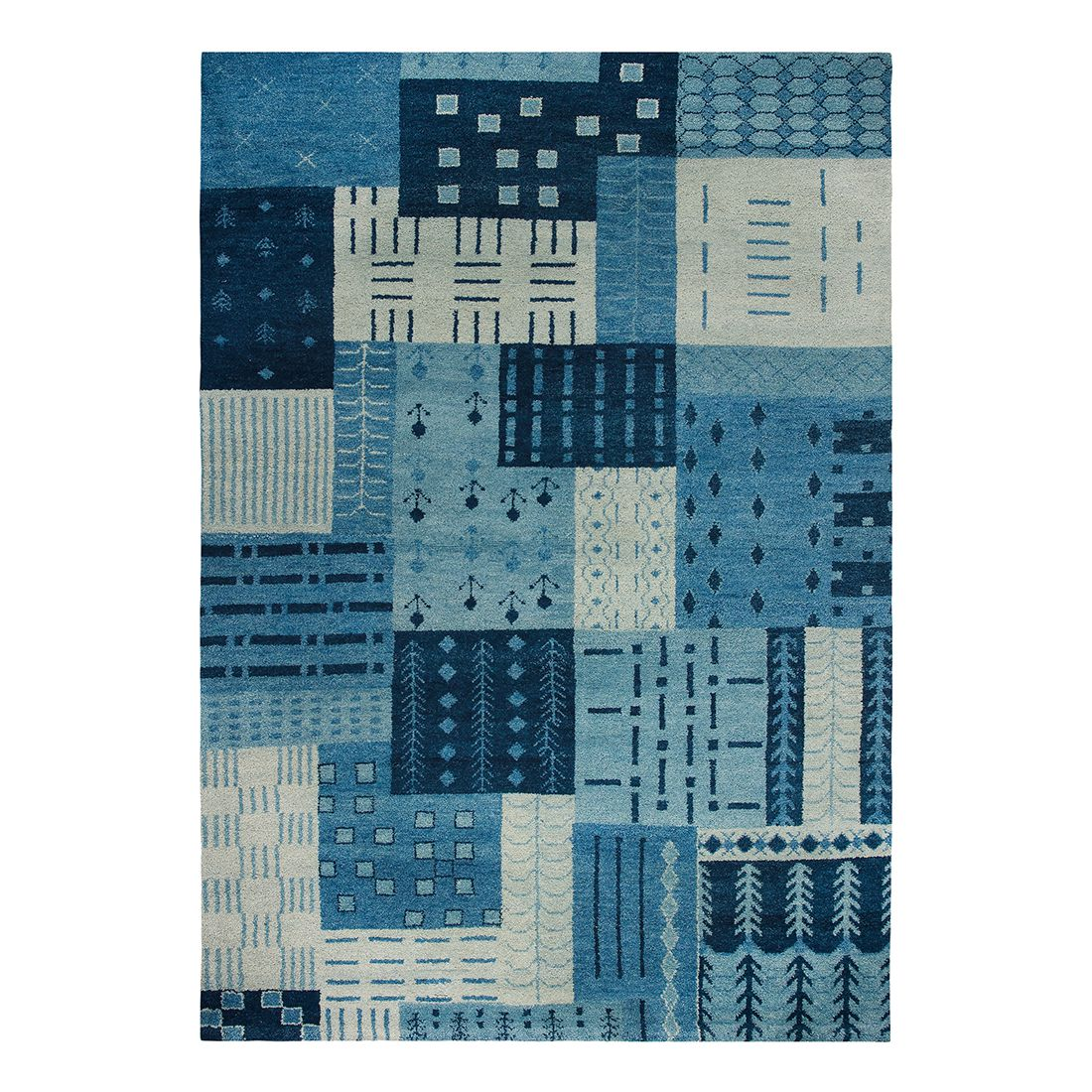 Teppich Cordoba – Wolle/ Blau – 170 cm x 240 cm, Luxor living günstig