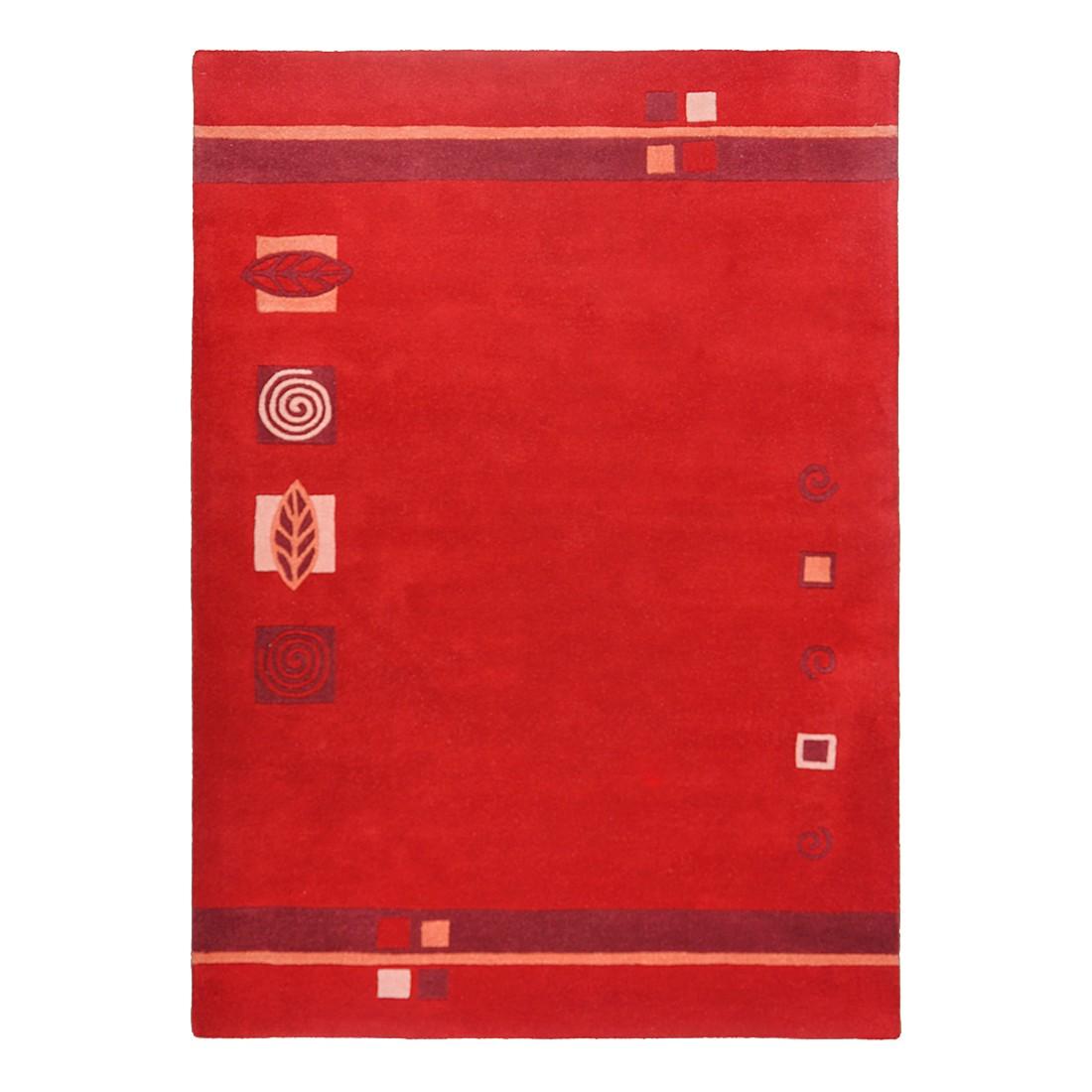 Teppich Florida – Wolle/Rot – 50 cm x 80 cm, THEKO die markenteppiche günstig online kaufen