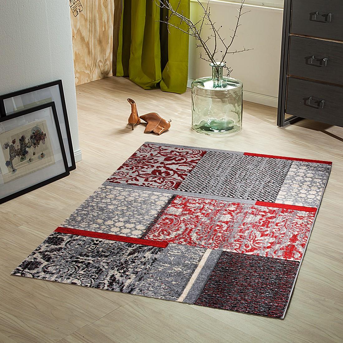 Teppich Liam Karomuster – Rot / Grau – 80 x 150 cm, Testil online bestellen