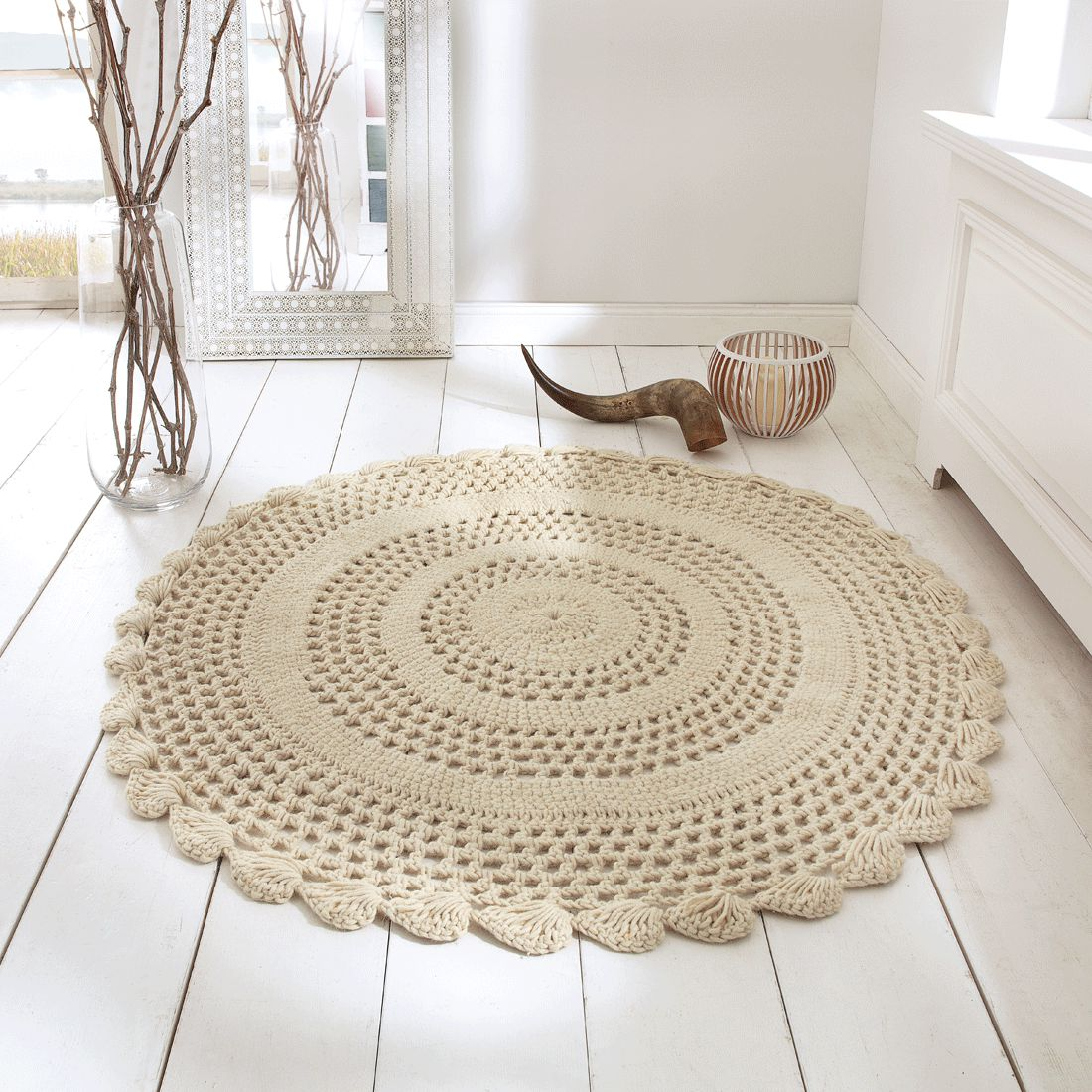 Teppich Liesel 120 cm Ø – Wolle – Weiß, PureDay bestellen