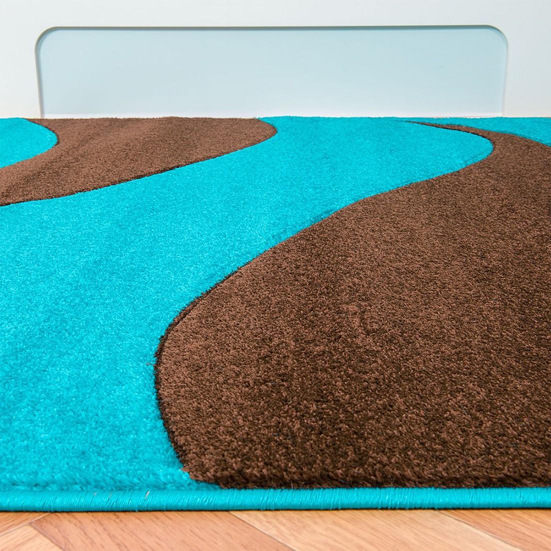 teppich nea wellen t rkis 133 x 190 cm home24deko teppiche bodenbel ge kurzflorteppiche. Black Bedroom Furniture Sets. Home Design Ideas