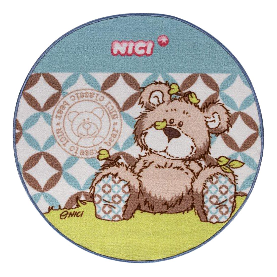Teppich Nici Classic Bear Rund - Grün / Blau - 100 x 100 cm, Nici