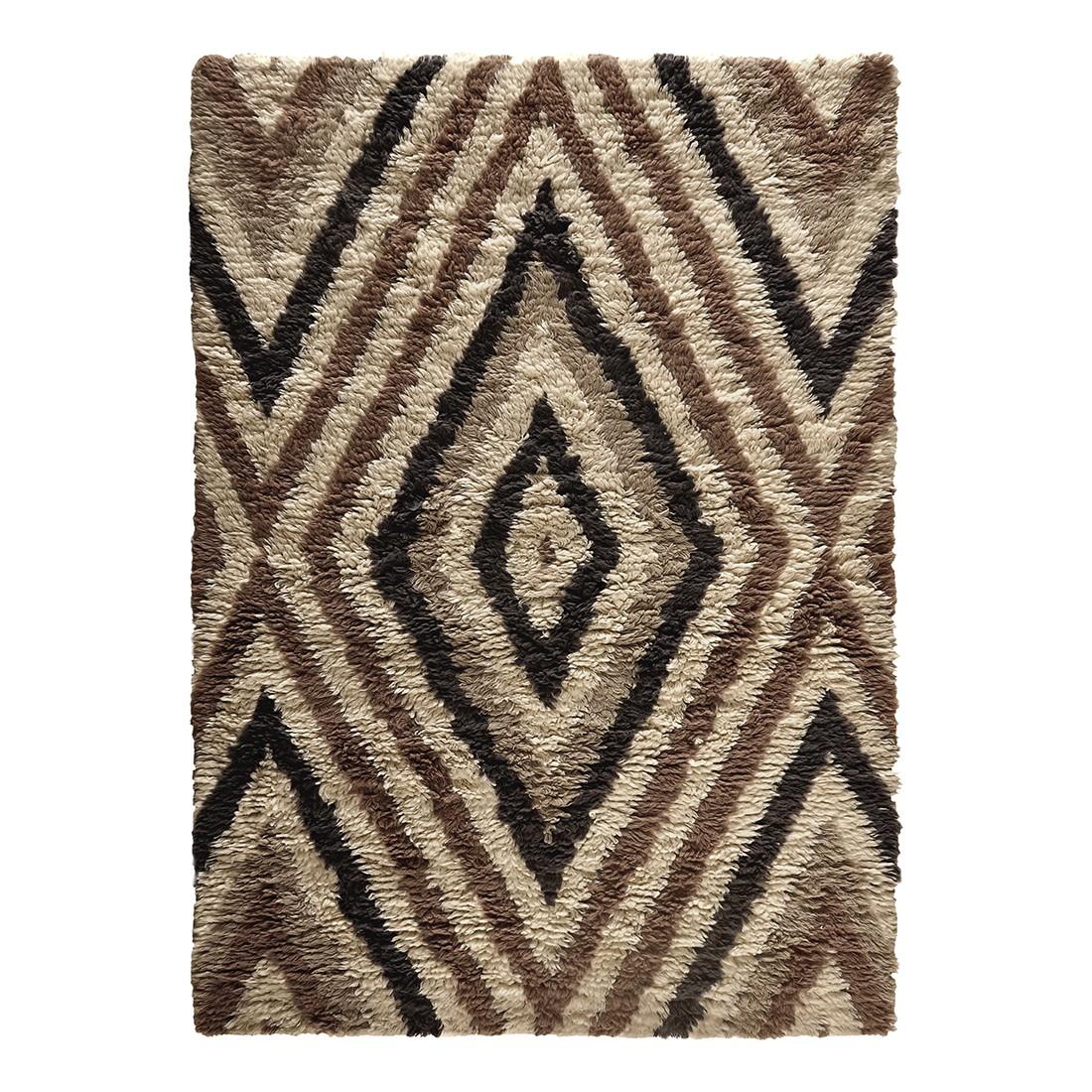 Teppich Nomadic Design – Wolle/Beige- Braun – 160 cm x 230 cm, THEKO die markenteppiche günstig online kaufen