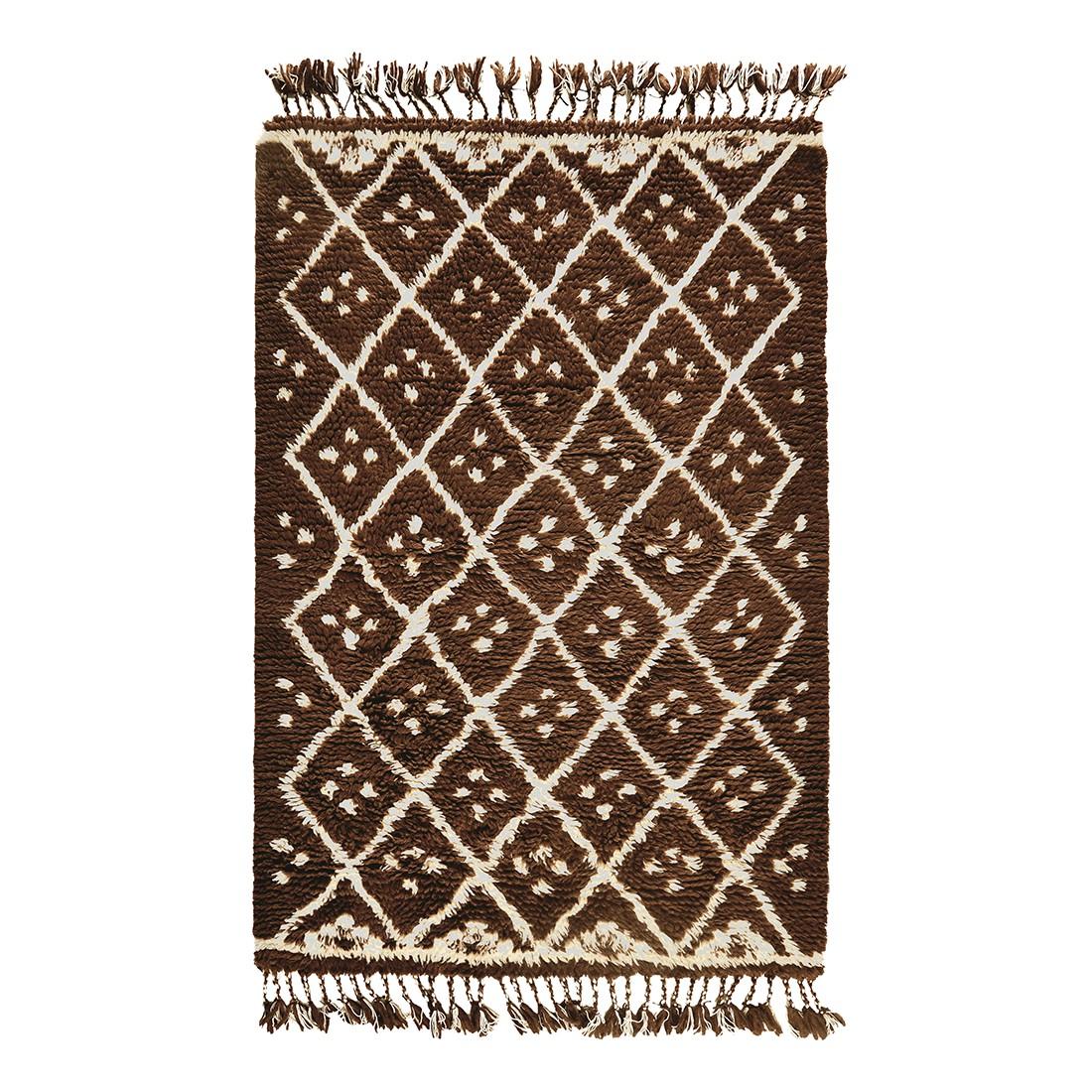 Teppich Nomadic Design – Wolle/Braun – 140 cm x 200 cm, THEKO die markenteppiche günstig online kaufen