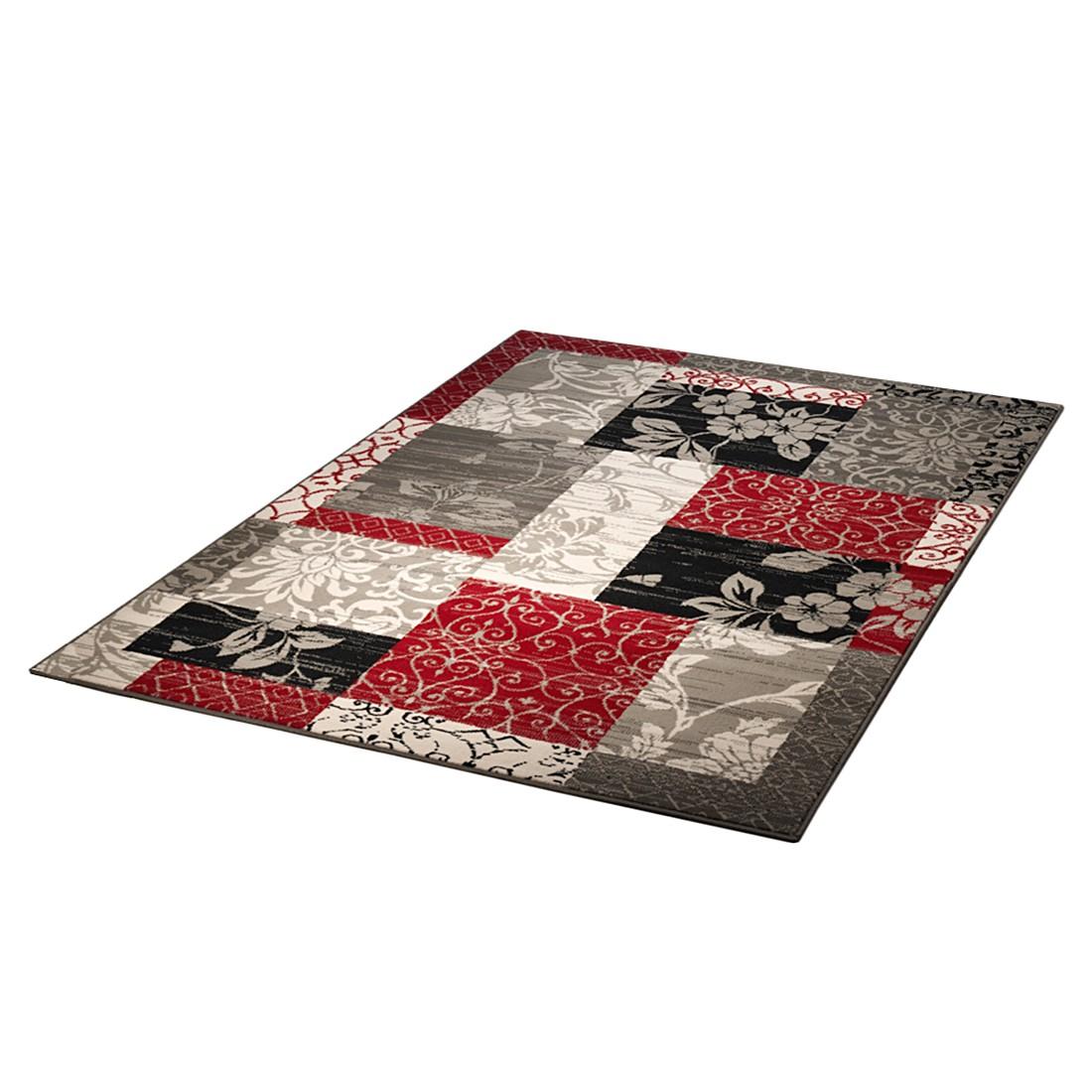 Teppich Rund Rot Grau