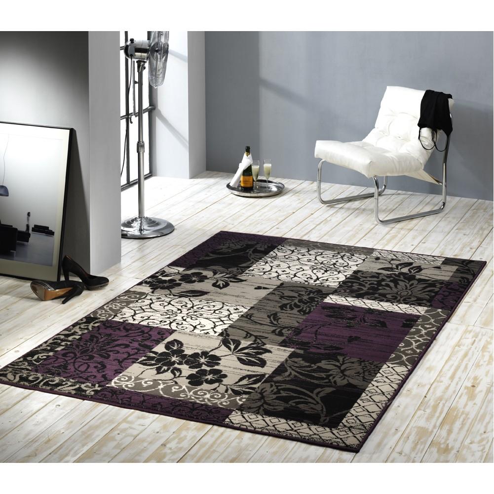 teppich prime pile line schwarz violett 60 x 110 cm hanse home collection g nstig online kaufen. Black Bedroom Furniture Sets. Home Design Ideas