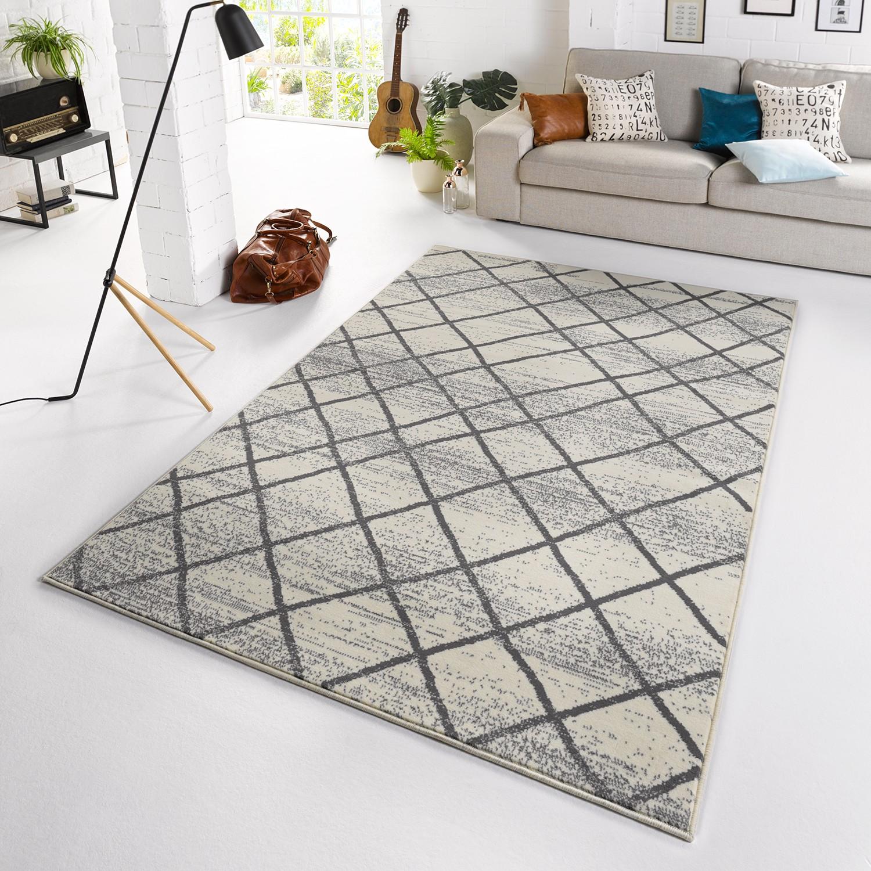 Teppich Rhombe Creme  Anthrazit 160 x 230 cm WOHNZIMMER