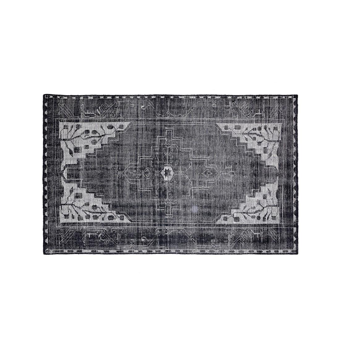 Teppich Semnan - Wolle - Schwarz/Weiß - 300 x 200, ikarus