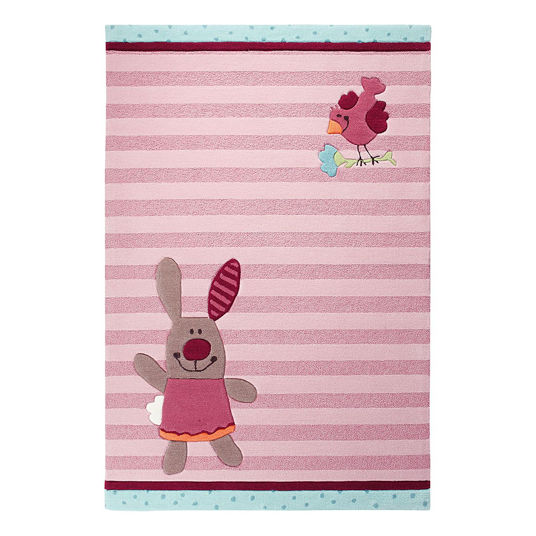 Teppich Sigikid 3 Happy Friends Stripes Big Size - Pink - 170 x 240 cm, Sigikid