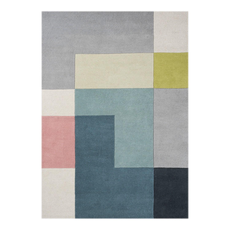 teppich tetris wolle blau gr n 200 x 300 cm linie. Black Bedroom Furniture Sets. Home Design Ideas