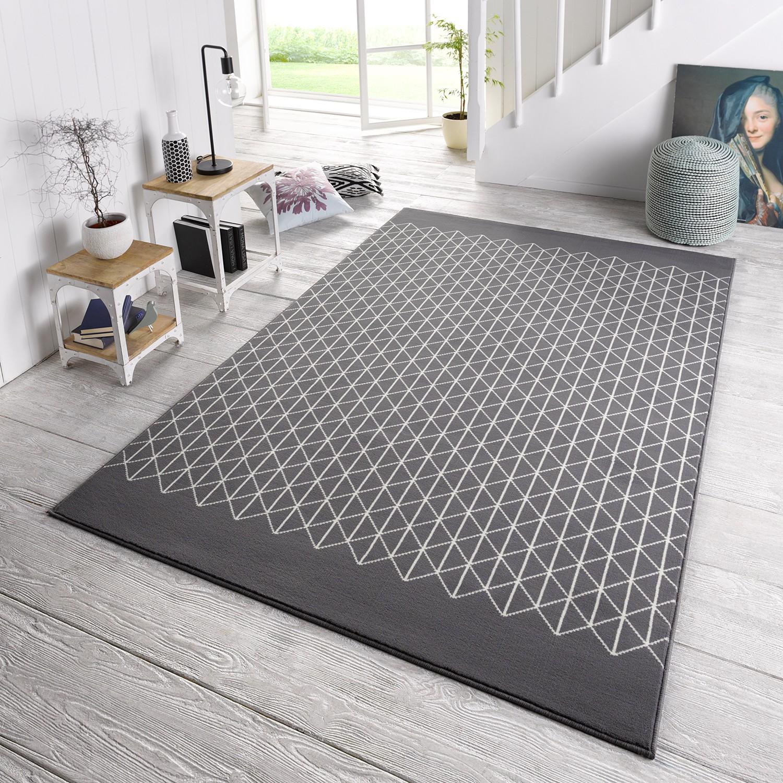 Teppich Twist Grau  Creme 140 x 200 cm WOHNZIMMER