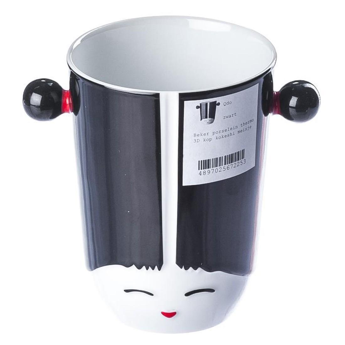 Thermobecher 3D-Tasse Kokeshi Girl – Porzellan – Schwarz, Qdo günstig online kaufen