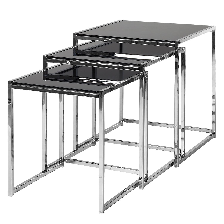 tisch robin 3 satz schwarze glasplatte esstisch. Black Bedroom Furniture Sets. Home Design Ideas