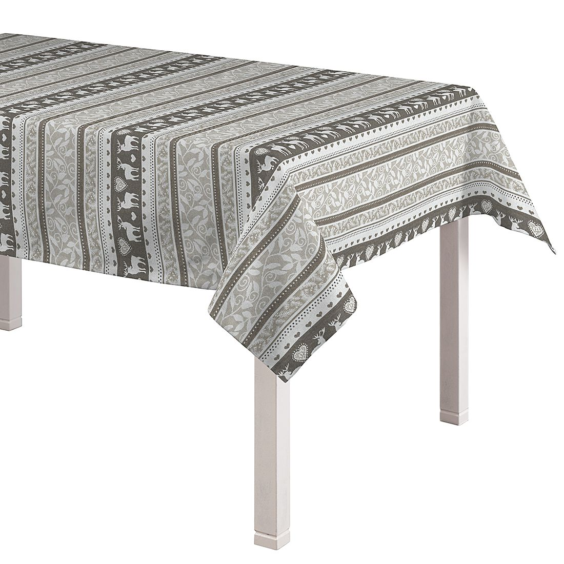 Tischdecke Rentiere – Grau / Grün – 130 x 180 cm, Dekoria günstig online kaufen