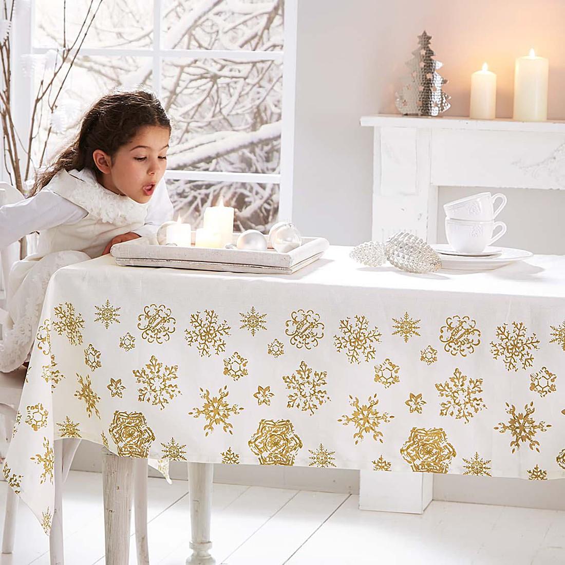 Tischdecke Schneeflocken – Baumwolle – Ecru/Gold, PureDay online bestellen
