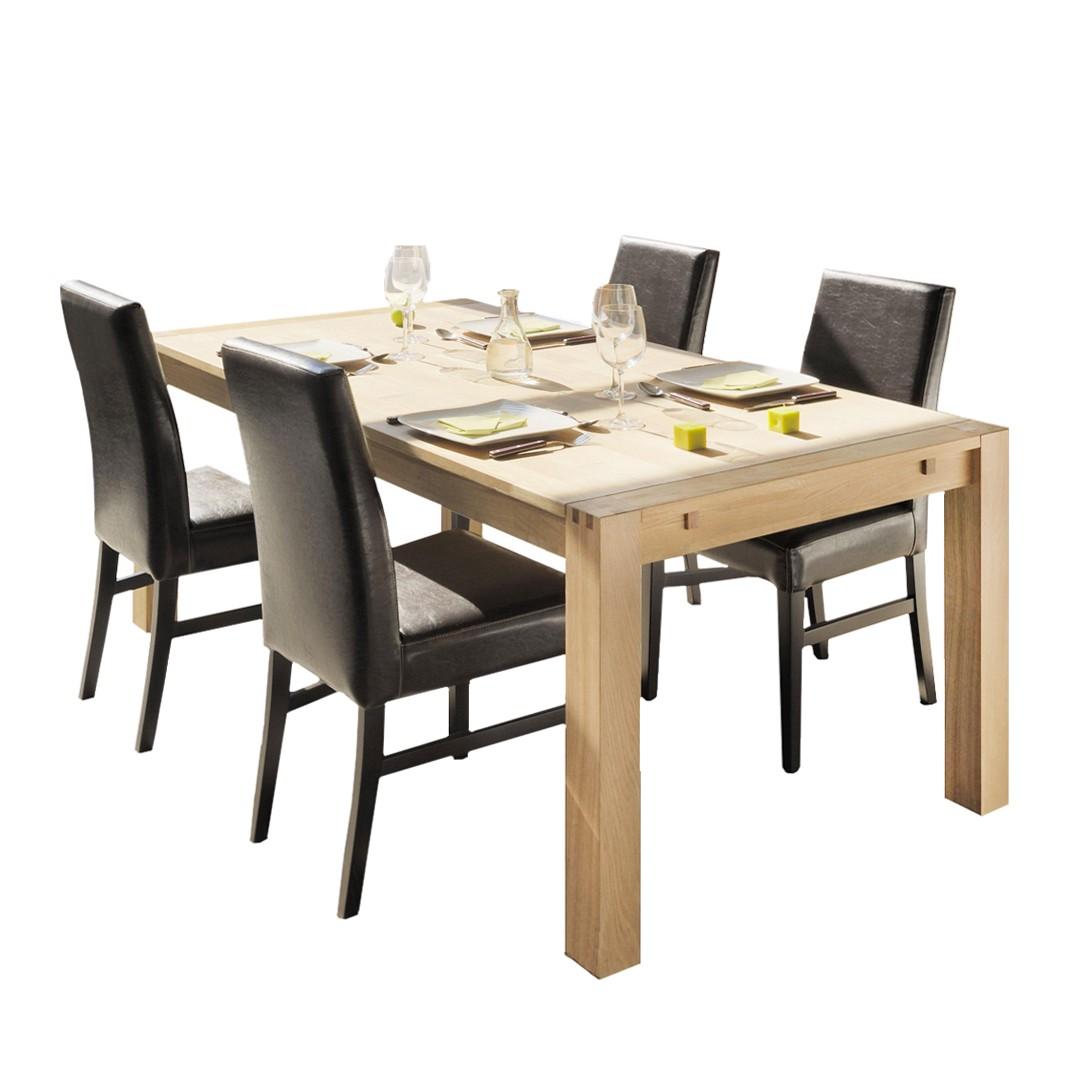 Tischgruppe Apollo (5-teilig) – Eiche Teilmassiv/Kunstleder – Tisch & 4 Stühle – Ausführung: ohne Ansteckplatten, Young Furn jetzt kaufen