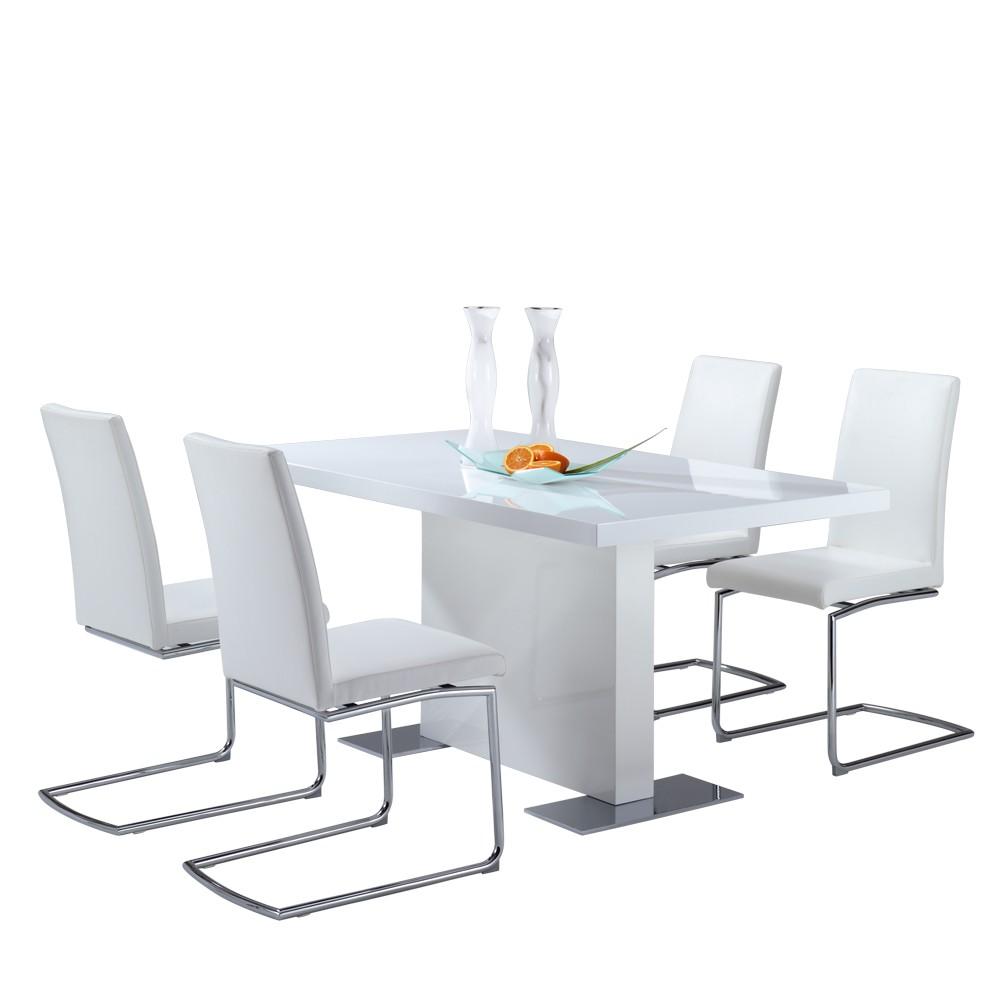 Tischgruppe Velantin (5-teilig) – Hochglanz Weiß – Vier Stühle & ein Säulentisch – Breite: 180 cm, Tollhaus jetzt bestellen
