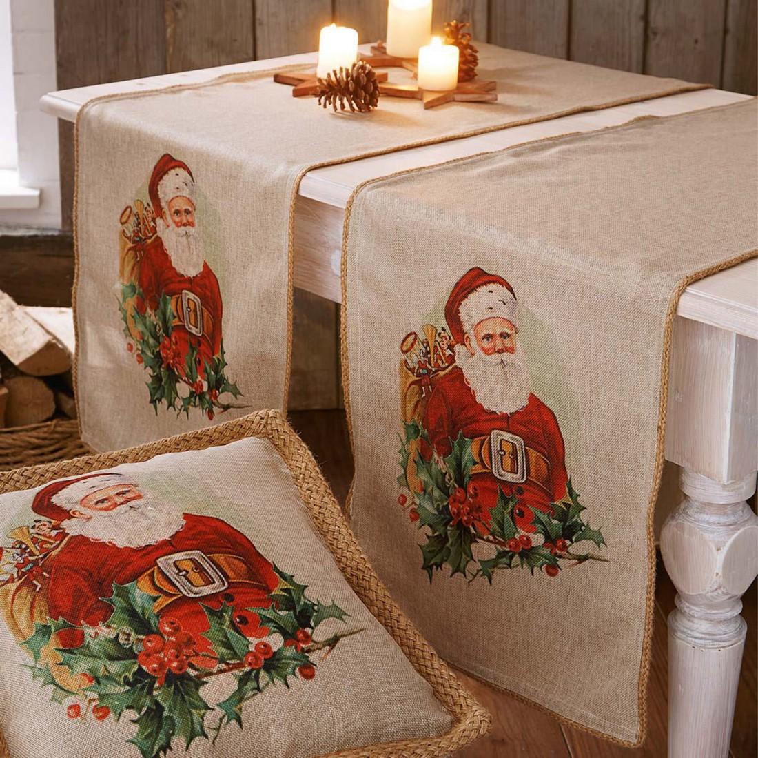 Tischläufer Nostalgie Weihnachtsmann – Natur/Bunt, PureDay günstig bestellen