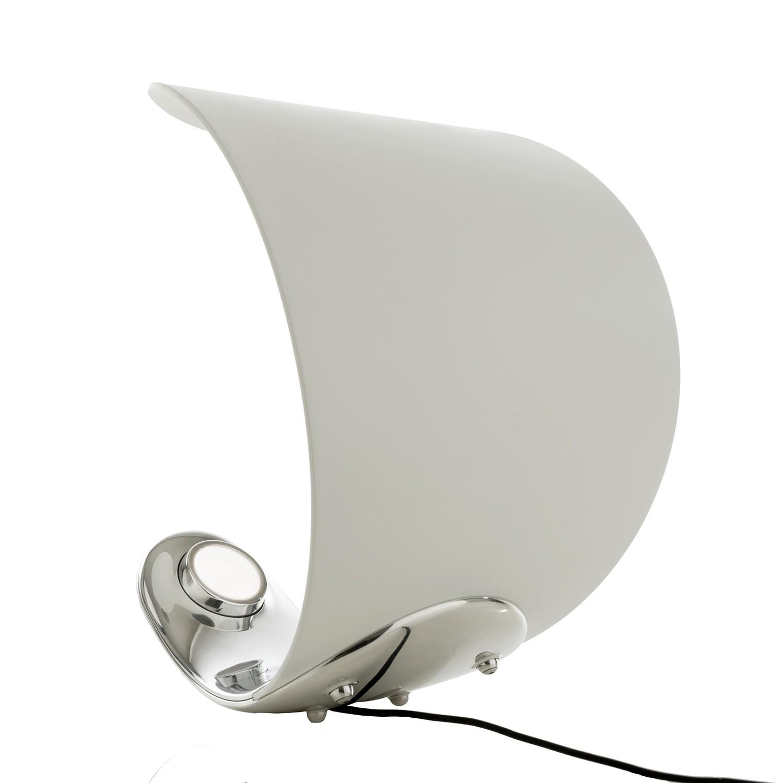 Tischleuchte Curl LED ● Kunststoff ● Weiß/Chrom- Luceplan