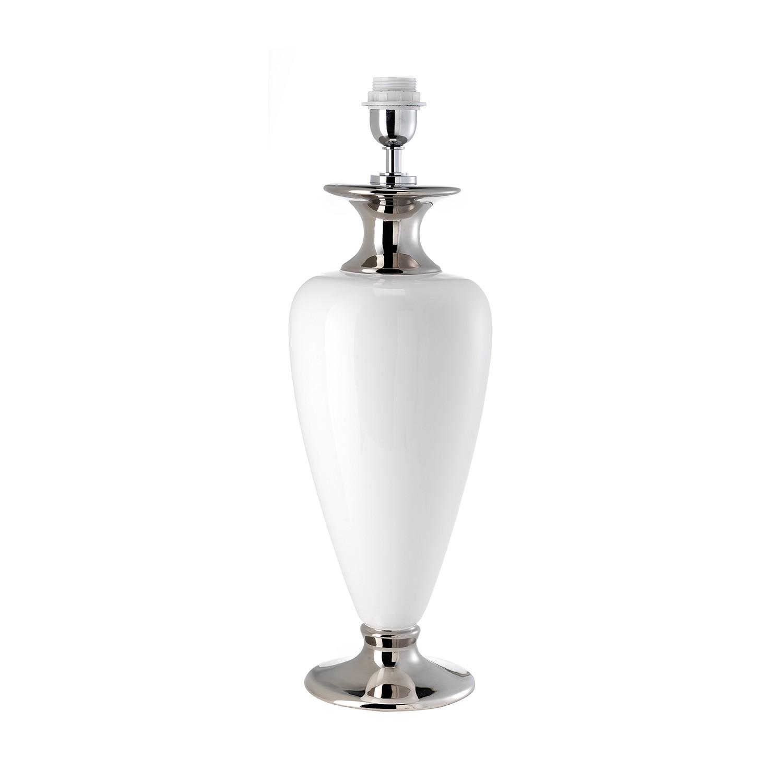 Tischleuchten-Armatur Athen IV ● Keramik ● Weiß / Platin ● 1-flammig- Lampadina A++