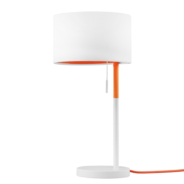 Tischleuchte Landor ● Stoff / Metall ● 1-flammig ● Weiß / Orange- Trio A++