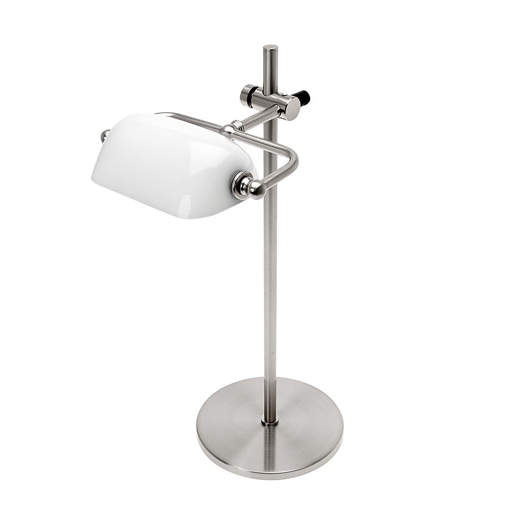 EEK C, Tischleuchte Notary Chrom/Weißglas, Leitmotiv günstig online kaufen